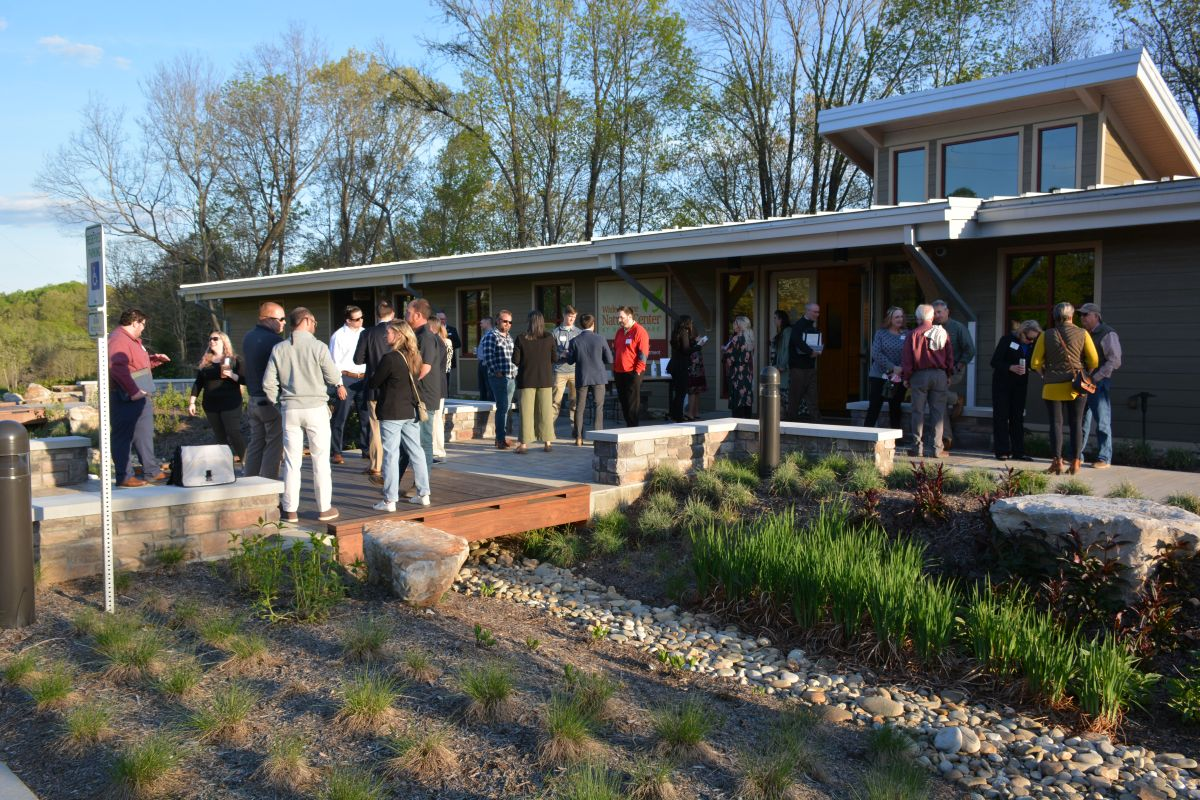 Guests enjoy the Clarksville Area Chamber of Commerce Business After Hours at the Wade Bourne Nature Center at Rotary Park on Thursday, April 15 2021. (Lee Erwin)