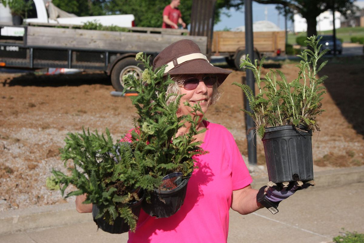 Blanchfield Army Community Hospital employee Mary Arrington carries plants to the hospital's new on-site therapeutic garden May 23, 2014 at the Fort Campbell hospital. More than 20 volunteers from the hospital and the local community came together to create the Army's first healing garden located within a medical facility's footprint. (U.S. Army photo by Stacy Rzepka/RELEASED)