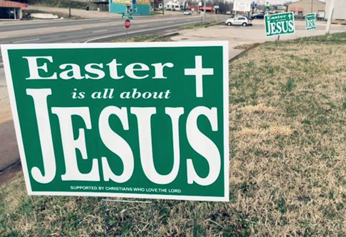 Pastor Behind Easter Is All About Jesus Yard Signs
