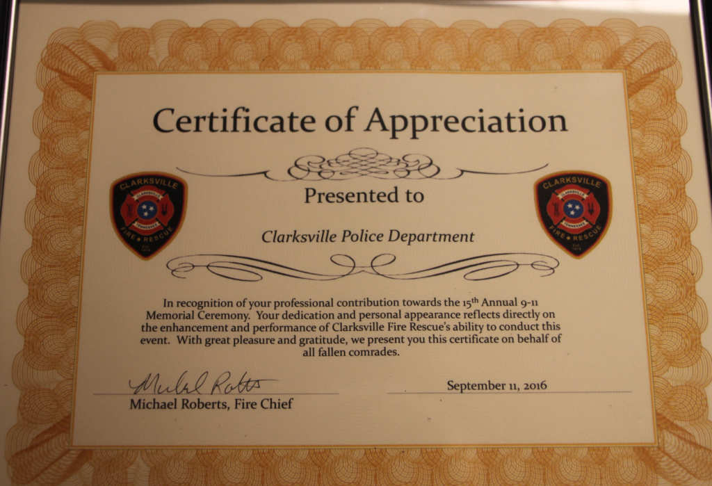 clarksville fire rescue presents certificate of
