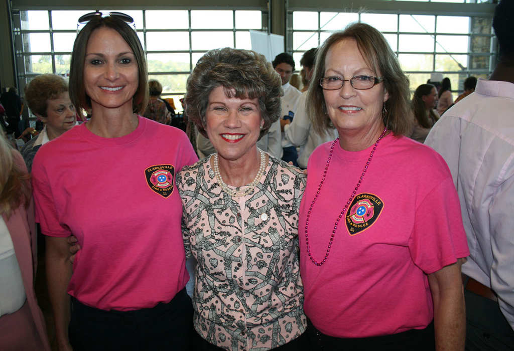 clarksville nowcity of clarksville mayor kim mcmillan congratulates gina mills left and susan harris for their work selling pink clarksville fire rescue