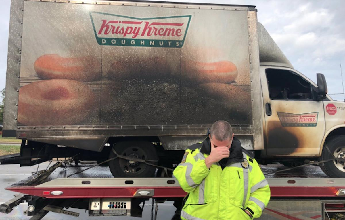 Krispy Kreme delivers dozens of fresh doughnuts to police after truck fire