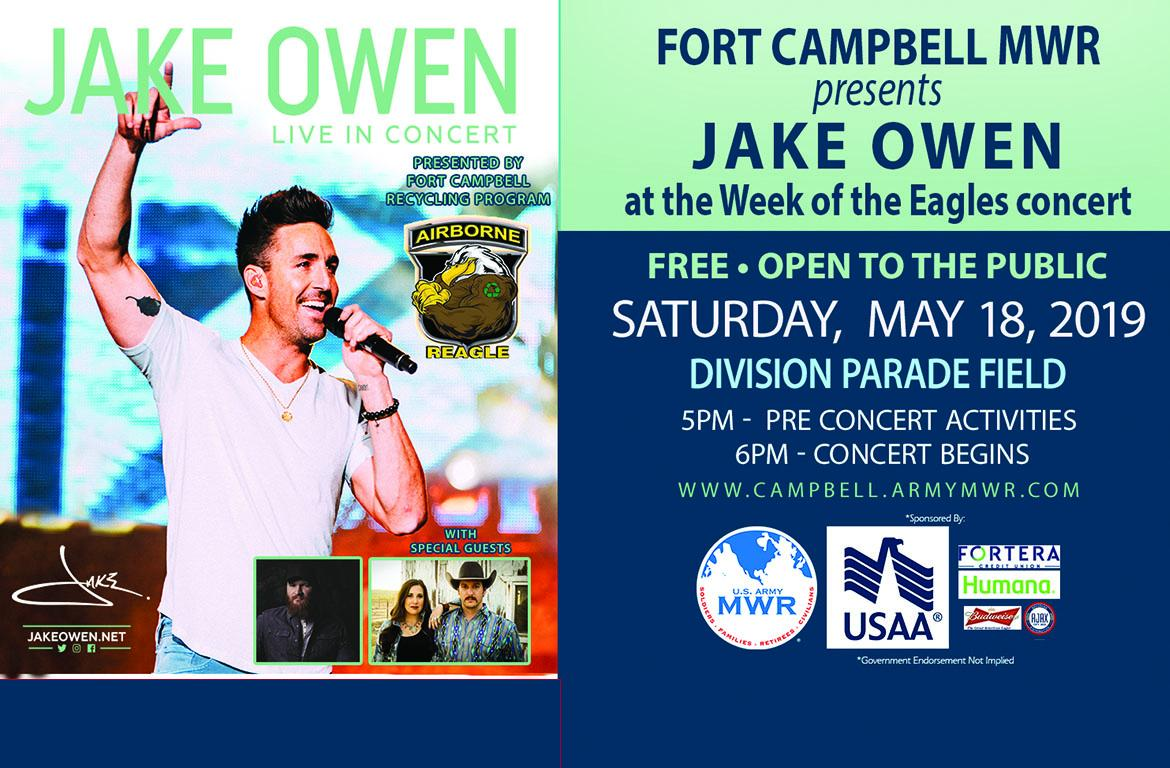 Country star Jake Owen to perform free concert at Fort Campbell